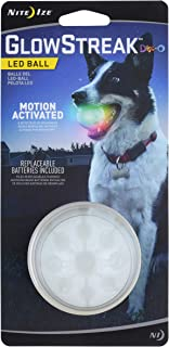 Nite Ize GlowStreak LED Dog Ball, Bounce-Activated Light Up Dog Ball