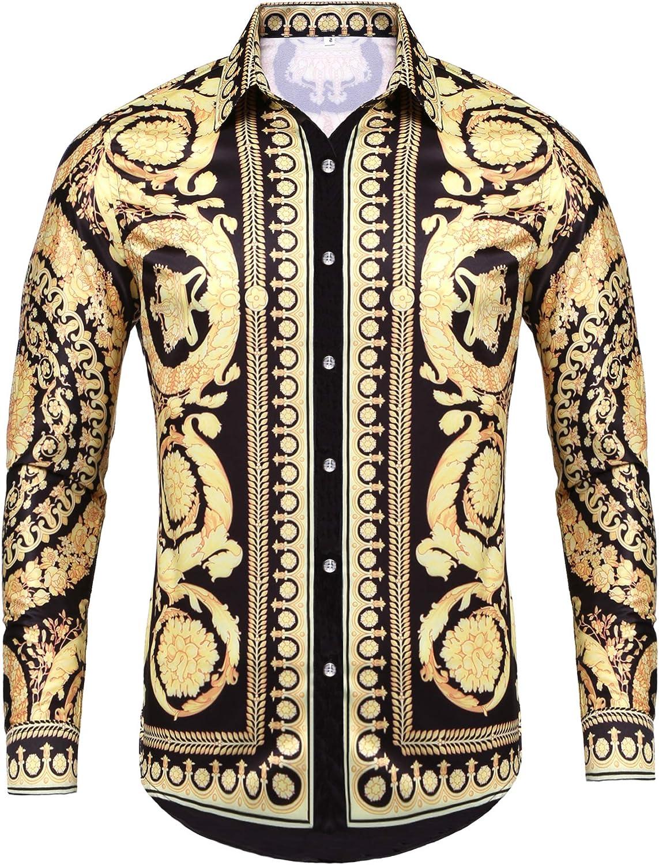 Pacinoble Mens Philadelphia Mall Long Sleeve Fashion Shi Print Surprise price Luxury Design Dress