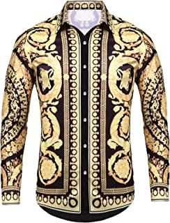 Pacinoble Mens Long Sleeve Fashion Luxury Design Print Dress Shirt (Gold, XX-Large)