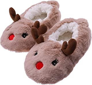 FANZERO Toddler Kids Girls Boys Cute Cartoon Animal Soft Warm Plush Lining Non-Slip Slippers Winter House Shoes