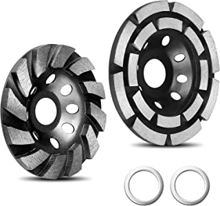 [2021 Upgraded] 2 Pack Diamond Cup Grinding Wheel, Include 4-1/2 Inch Double Row Grinding Wheel, 4 Inch 12 Segs Heavy Duty...