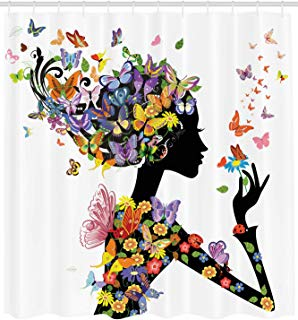 """Ambesonne Butterflies Shower Curtain, Girl Fashion Flowers with Butterflies Ornamental Floral Foliage Nature Forest, Cloth Fabric Bathroom Decor Set with Hooks, 84"""" Extra Long, Black White"""