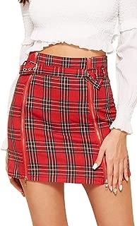 WDIRARA Falda Sexy de Verano con Cintura Alta, Mini Cierre