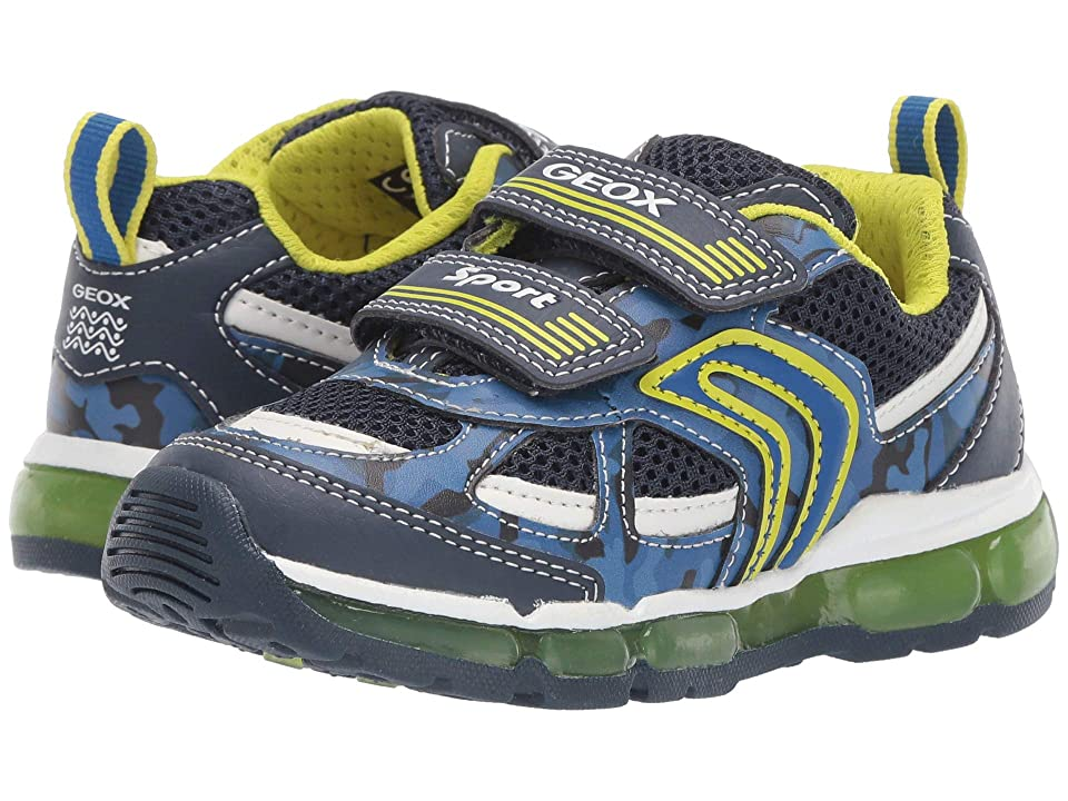 Geox Kids Android Boy 21 (Toddler) (Navy/Lime) Boy