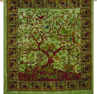 Indian Mandala Green Tree Of Life Double Bedspreed, Size 90 X84 hippie mandala Wall decor Hanging, Mandala Tapestries, Hippie Dorm Bedspread, Blossom bird Tapestry,Tapestry, Queen Ombre Gift Hippie,