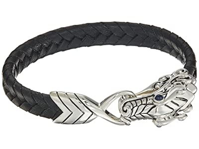 John Hardy Legends Naga 10mm Station Bracelet in Black Leather (Silver) Bracelet