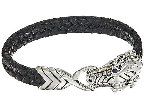 John Hardy Legends Naga 10mm Station Bracelet in Black Leather