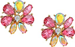 Pink and Gold Flower Statement Stud Earrings
