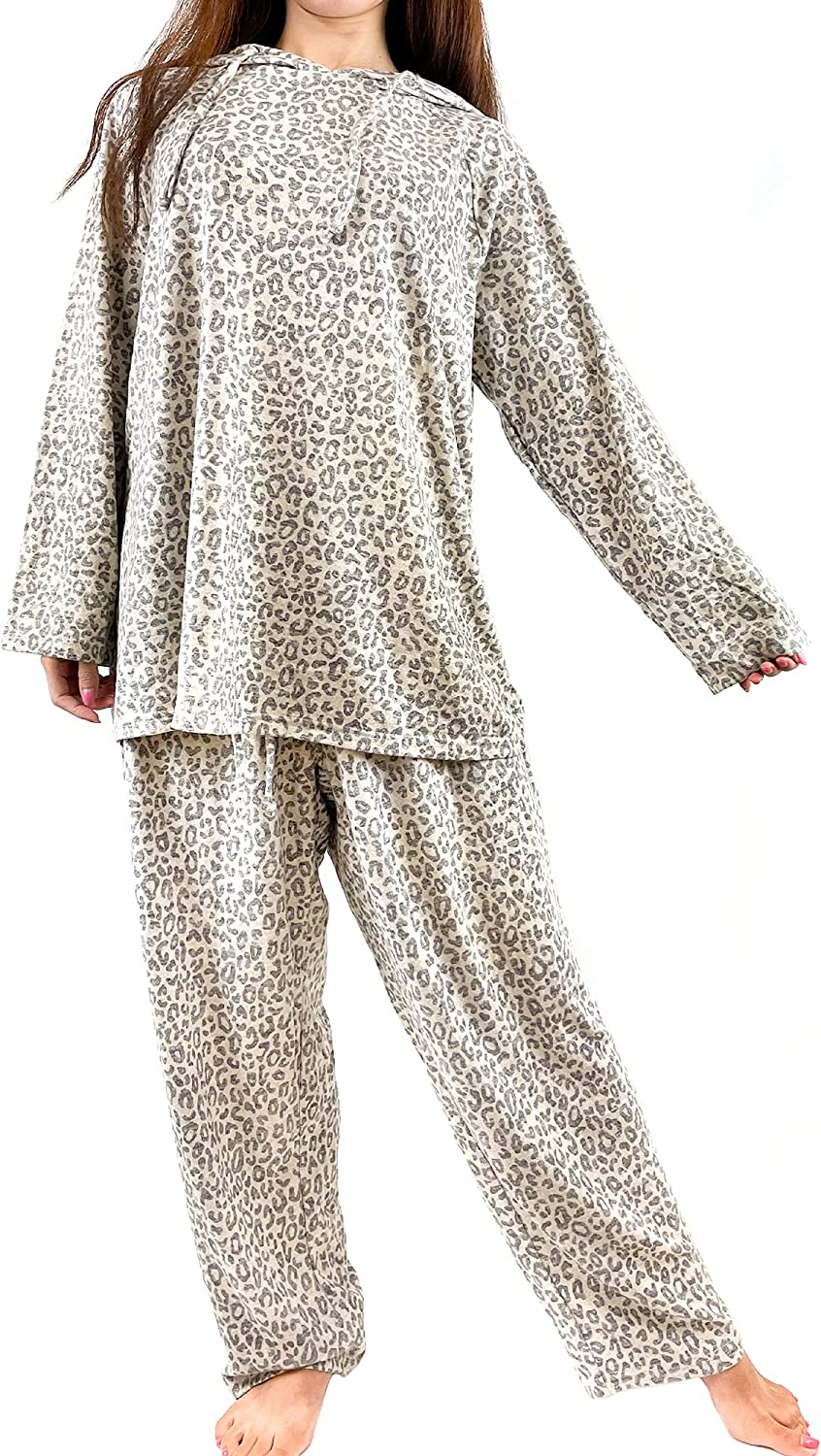 Brittany Black Women's French Terry Knit Patterned Long Sleeve Hoodie Tops and Pants Pajamas Set Loungewear
