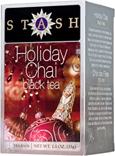 Stash Tea Holiday Chai Tea 18 Count Tea Bags in Foil (Pack of 6) Individual Spiced Black Tea Bags for Use in Teapots Mugs or Cups, Brew Hot Tea or Iced Tea