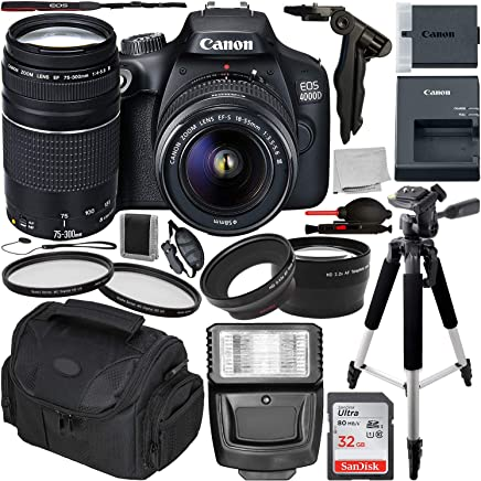 $389 Get Canon EOS 4000D DSLR Camera with 18-55mm III & 75-300mm III Lens & Essential Accessory Bundle – Includes: SanDisk Ultra 32GB SDHC Memory Card + Wide Angle & Telephoto Lens Attachment + More