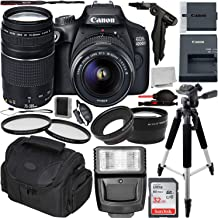 $409 Get Canon EOS 4000D DSLR Camera with 18-55mm III & 75-300mm III Lens & Essential Accessory Bundle – Includes: SanDisk Ultra 32GB SDHC Memory Card + Wide Angle & Telephoto Lens Attachment + More