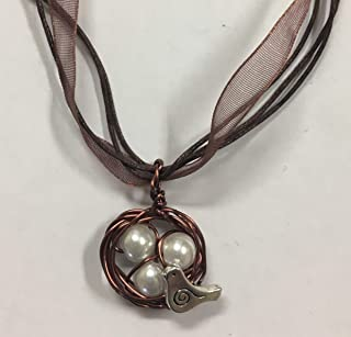 Bird's Nest Pendant in Antique Copper with 3 White Glass Pearl Eggs on an 18 inch Copper Organza Ribbon Necklace with extender Chain