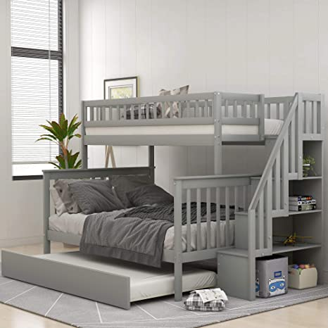 Amazon Com Solid Wood Twin Over Full Bunk Beds With Trundle Bunk Beds For Kids With Stairs And Guard Rail Gray Bunk Bed With Trundle Kitchen Dining