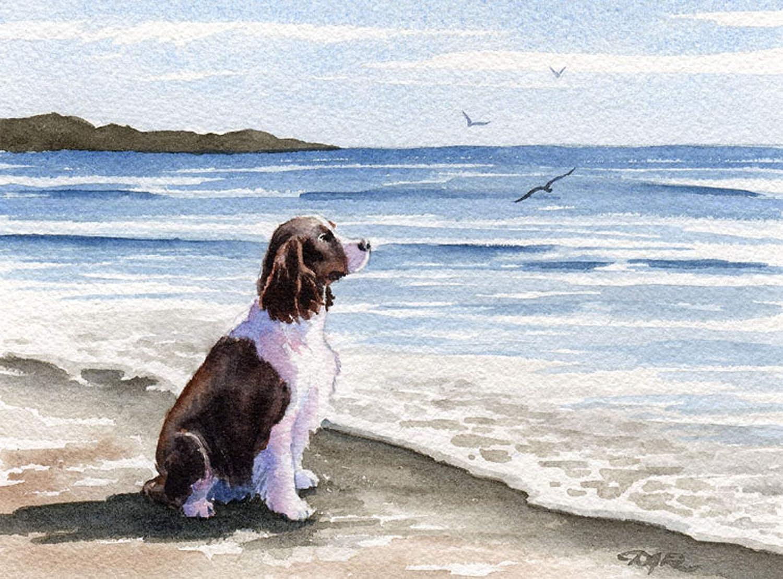Springer Spaniel at The 限定モデル Beach Watercolor 直輸入品激安 Artist DJ by Art Print
