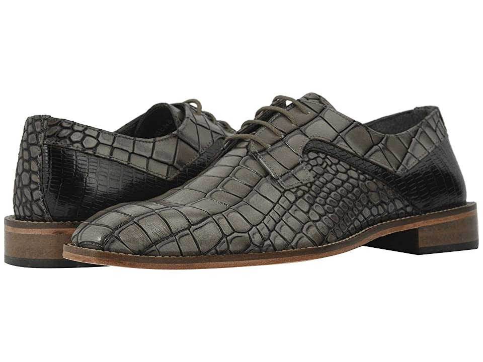 Stacy Adams Triolo Croc Lizard Print Oxford (Gray/Black) Men