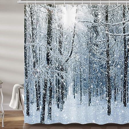 Winter Snow Wood Cottage Bridge Landscape Fabric Shower Curtain Bathroom Decor