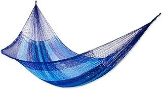 NOVICA Multicolor Hand Woven 2 Person Striped Mayan Hammock , 'Blue Caribbean' (Double)