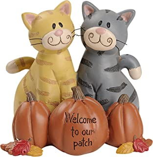 Blossom Bucket Welcome To Our Patch Pumpkin Cats 3 x 3 Inch Resin Stone Harvest Tabletop Figurine Décor