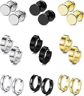 4-9 Pairs Stud Earrings Hoop Earrings Set for Men Women Stainless Steel Earring 18G