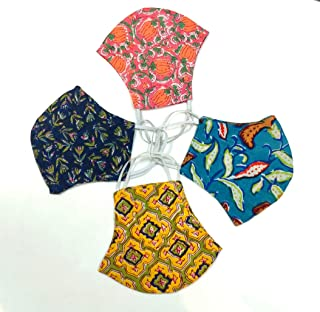 Collectible India Anti Pollution Dustproof/Block Print Reusable Washable Face Mask for Men and Women (4) -Pack of 4