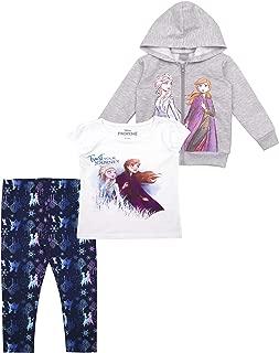 3-Piece Frozen II Leggings Set for Girls with Elsa Shirt and Zip-Up Hoodie