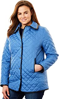 Woman Within Womens Plus Size Quilted Snap-Front Jacket