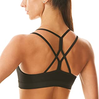 Rocorose Sports Bra for Women Sexy Crisscross Back Padded Strappy Longline Wirefree Running Workout Fitness Yoga Bra Top