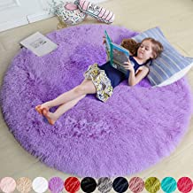 Purple Round Rug for Bedroom,Fluffy Circle Rug 4'X4' for Kids Room,Furry Carpet for Teen's Room,Shaggy Throw Rug for Nurse...