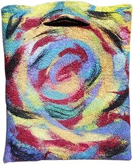 Ysting Filz bag.Felted Regenbogen -Wirbel, Tasche fühlte. Tasche aus Wolle. Schöne Tasche Einkaufstasche, Art Filz,Regenbo...