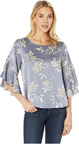 Bell Sleeve Refined Etched Bouquet Blouse