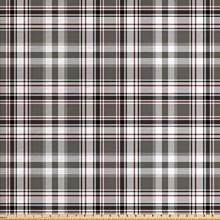Lunarable Plaid Fabric by The Yard, Classic English Tartan Plaid Cells Stripes Scottish Geometric Traditional, Decorative ...
