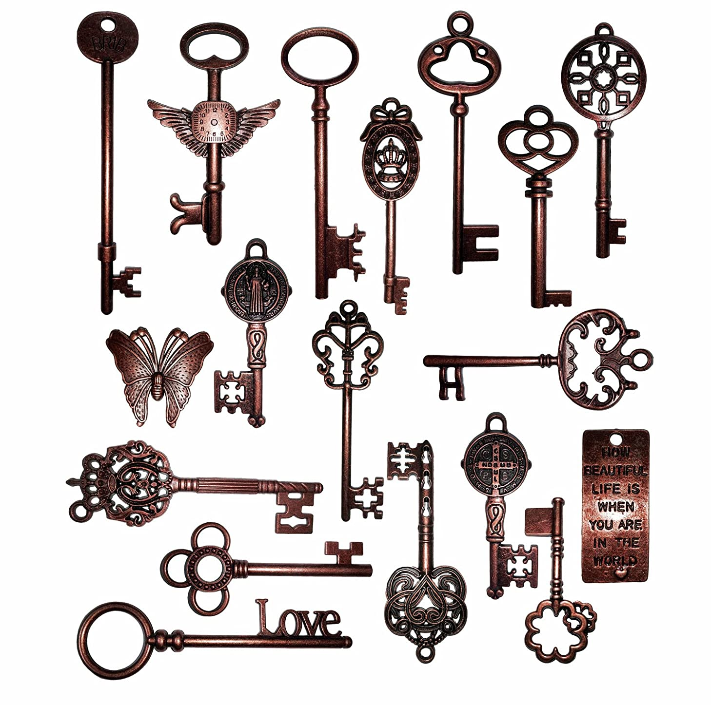 Vintage Skeleton Keys Charm Set in Antique Copper Pack of 18 Keys, 18 Different Style, No Repeat (Copper)