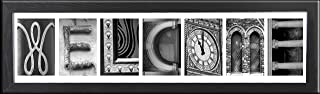 Imagine Letters 7-Opening, White Matted Black Photo Collage Frame