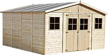TIMBELA Abri de Jardin en Bois Naturel - Stockage extérieur avec fenêtres- H246 x 418 x 420 cm/ 16 m²- Hangar en Bois Naturel