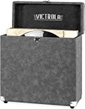 Victrola Vintage Vinyl Record Storage Carrying Case for 30+ Records, Gray