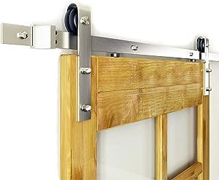 DIYHD SS138fts 8FT Brushed Nickel Hardware Interior Steel Barn Wood Door Sliding Track Kit, Single