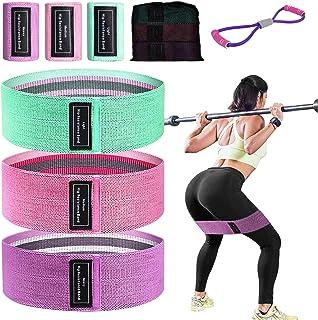 BYG 3 Pack Resistance Bands + 1 Stretch Band,Non Slip Workout Bands,3 Levels Workout Bands,Best for Home Fitness,Squat,Yog...