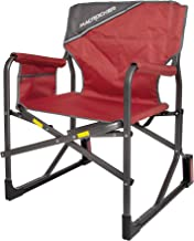 Mac Sports C2163A-100 MacRocker Foldable Outdoor Rocking Chair   Collapsible Folding Rocker Springless Rust-Free Anti-Tip Guard for Camping Fishing Backyard   Weight Capacity up to 225 lbs - Red