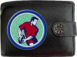 6423a9e46070 Rugby Player Joueur de rugby et balle Klassek Portefeuille Homme Porte  Monnaie Cuir Noir Véritable Cadeau