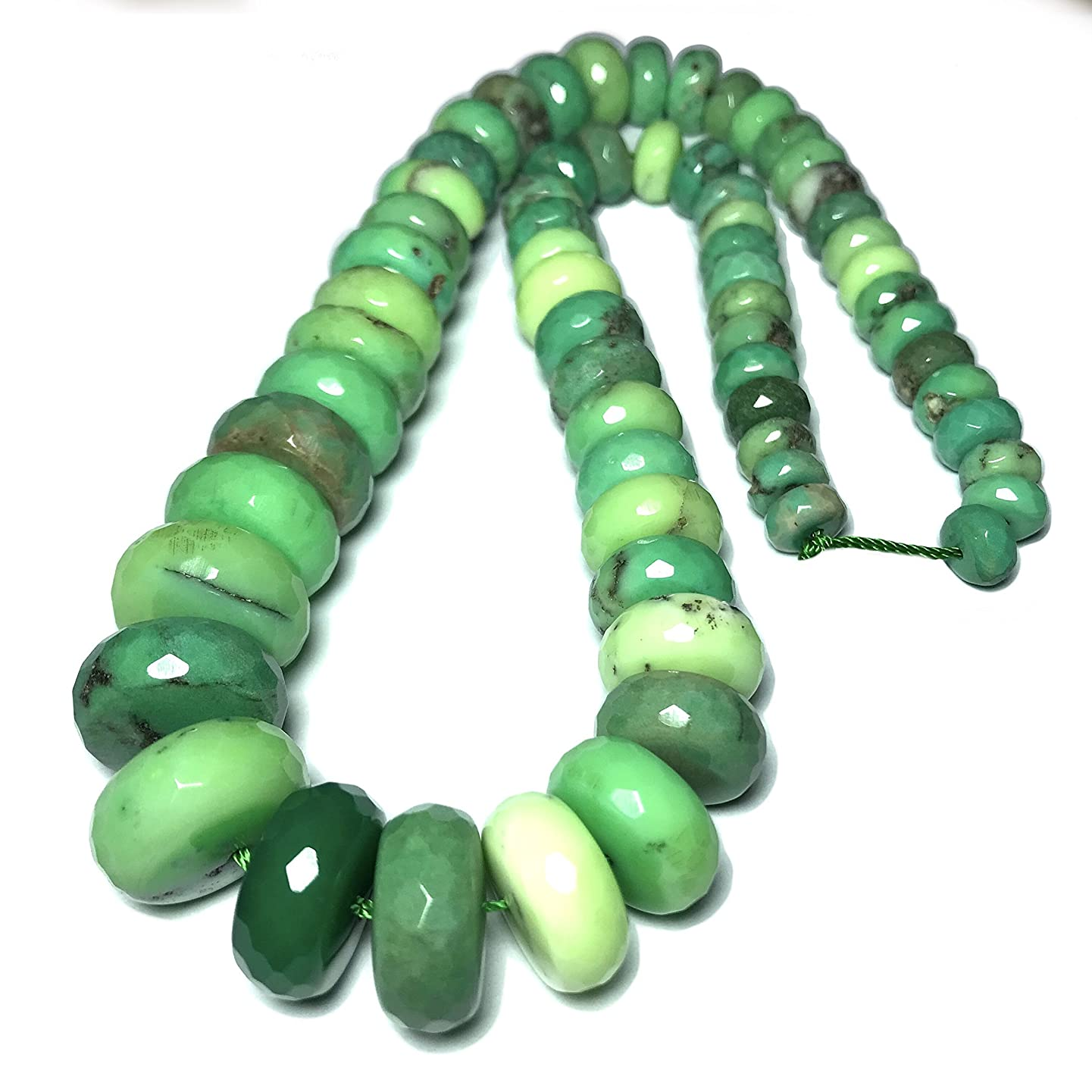 [ABCgems] Rare Graduated Australian Chrysoprase (Exquisite Color- Beautiful Matrix) 8-18mm Faceted Rondelle Beads for Beading & Jewelry Making