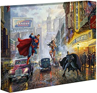 Thomas Kinkade Studios Batman Superman and Wonder Woman 8 x 10 Gallery Wrapped Canvas
