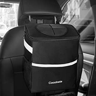 COCOBELA Car Trash Can with Lid, Waterproof Car Trash Bag Hanging for Headrest with Adjustable Strap, Collapsible Portable with 3 Storage Pockets, Multipurpose Auto Car Garbage Bin