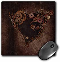 3dRose Decorated brown steam punk heart, Mouse Pad, 20cm by 20cm