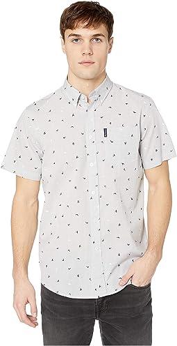 Short Sleeve Slub Bird Print Shirt