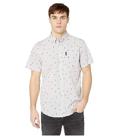 Ben Sherman Short Sleeve Slub Bird Print Shirt (Grey) Men