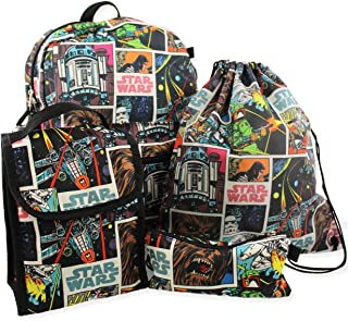 5 piece Backpack and Snack Bag Set (One Size, Black/Multi)