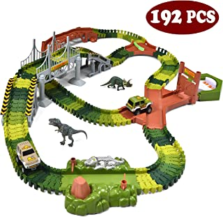 JOYIN Dinosaur 192 Pieces Race Tracks Flexible Train Track Race Car Vehicle Playset with 2 Battery Powered Race Cars and 2...
