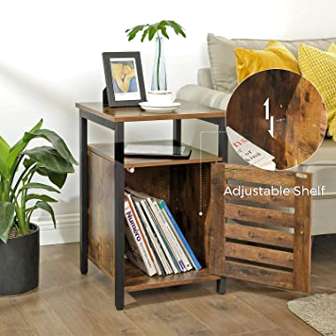 VASAGLE Nightstand, End Table with Open Shelf, Side Table, Inner Adjustable Shelf, Steel Frame, 15.7 x 15.7 x 23.6 Inches, Be