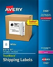 Avery Shipping Address Labels, Laser Printers, 115 Labels, Full Sheet Labels, Permanent Adhesive, TrueBlock (5165)